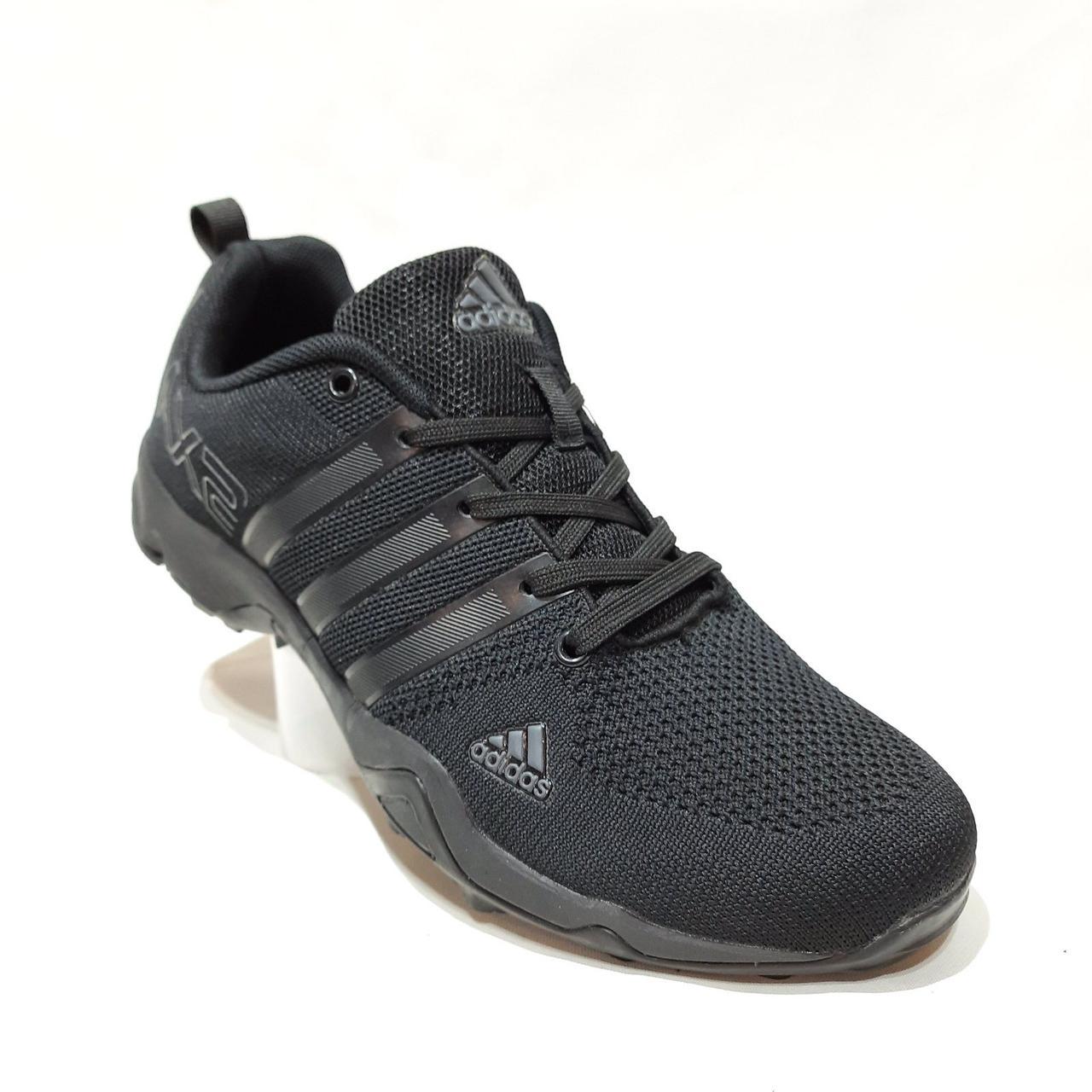 45 р. Мужские кроссовки сетка с текстилем Адидас (Adidas) Черные Последняя пара