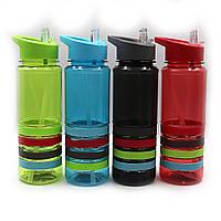 """Бутылка для воды """"Stripes"""" 750мл, с трубочкой, прозр., резиновый держ., mix, 1шт/этик."""