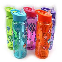 """Бутылка для воды """"Воздушный шар"""" 750мл, прозр., с трубочкой, mix, 1шт/этик."""
