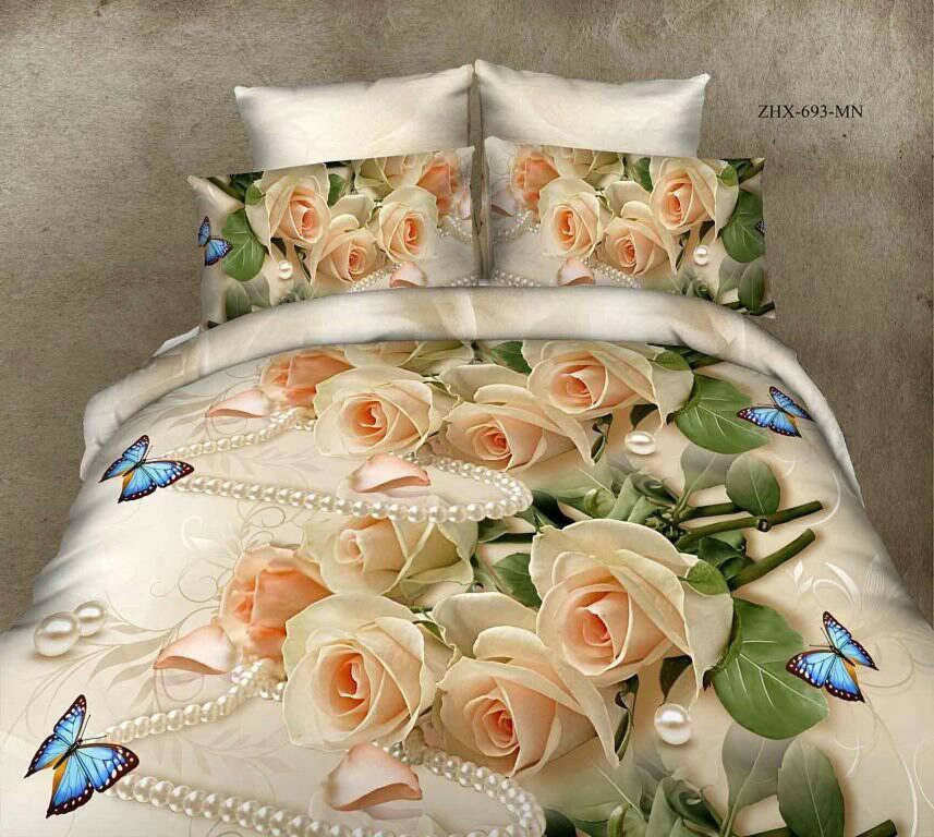 Постельное белье Полуторка Бязь Gold  Роза бусы