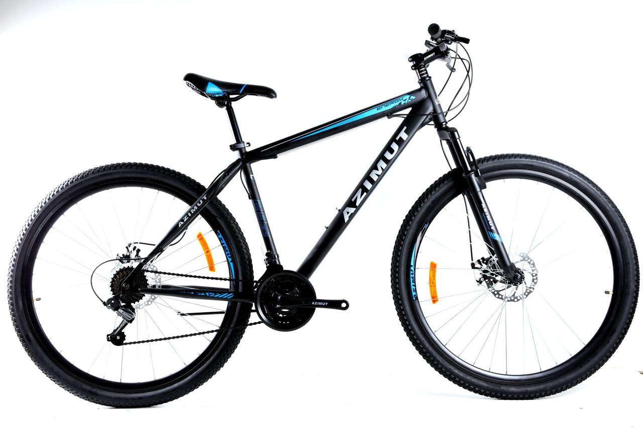 Спортивный горный велосипед 29 дюймов Azimut Energy Shimano GD 19 рама черно-синий