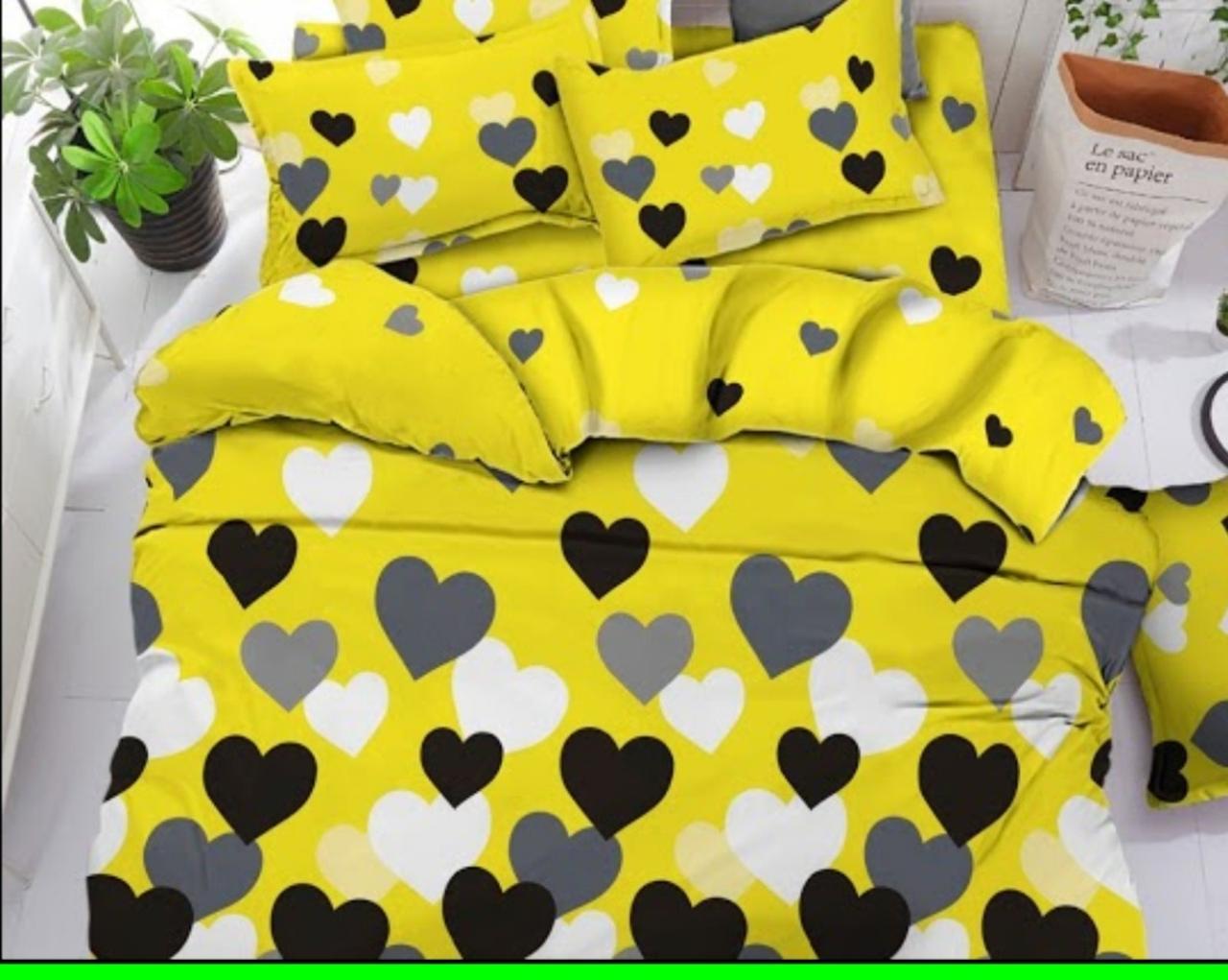 Качественное постельное белье Евро Бязь Gold Серця на жовтому