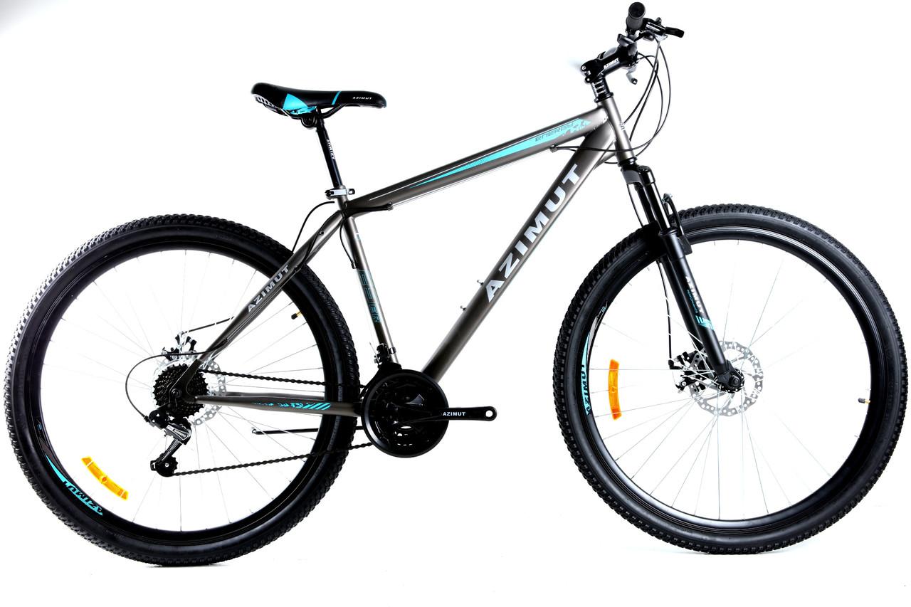 Спортивный горный велосипед 29 дюймов Azimut Energy D 19 рама серо-синий
