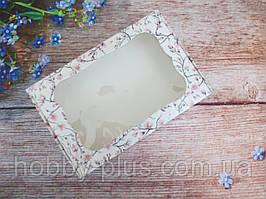 Коробка для изделий ручной работы с окном, 100х150х30 мм, цветочный принт (сакура), 1шт