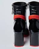 Ботинки кожаные женские черные на каблуке. Турция, фото 3