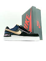 Женские кроссовки Nike Air Force 1 Low Shadow Black Blue (Кроссовки Найк Аир Форс 1 низкие черно-синие), фото 1