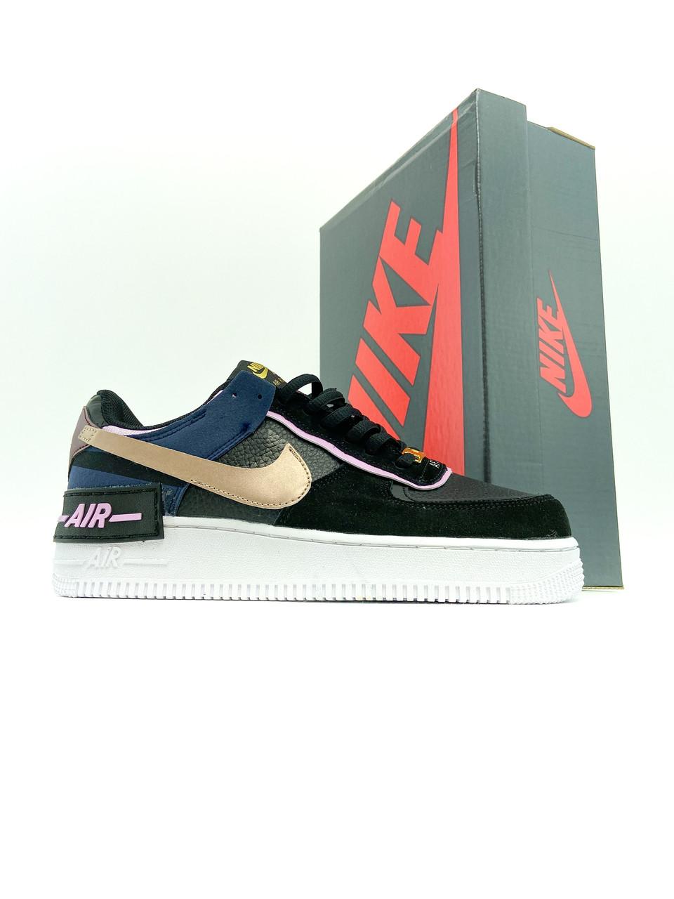 Женские кроссовки Nike Air Force 1 Low Shadow Black Blue (Кроссовки Найк Аир Форс 1 низкие черно-синие)