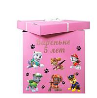 Коробка-сюрприз большая 70х70см (Щенячий патруль) +наклейки + надпись и декор (цвет коробки может быть разный)