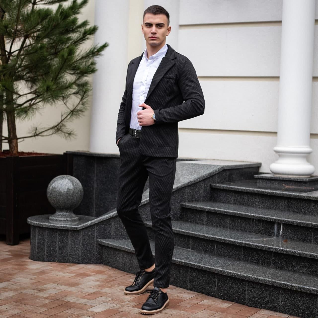 Мужской классический костюм Pobedov Suits «Top» в точку черный