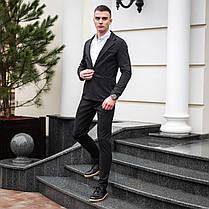 Чоловічий класичний костюм Pobedov Suits «Top» кольорова клітина темно-сірий, фото 3