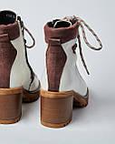 Ботинки кожаные женские бежевые на шнурке и каблуке. Турция, фото 3