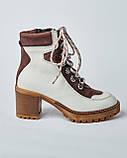 Ботинки кожаные женские бежевые на шнурке и каблуке. Турция, фото 2
