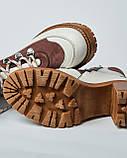Ботинки кожаные женские бежевые на шнурке и каблуке. Турция, фото 4