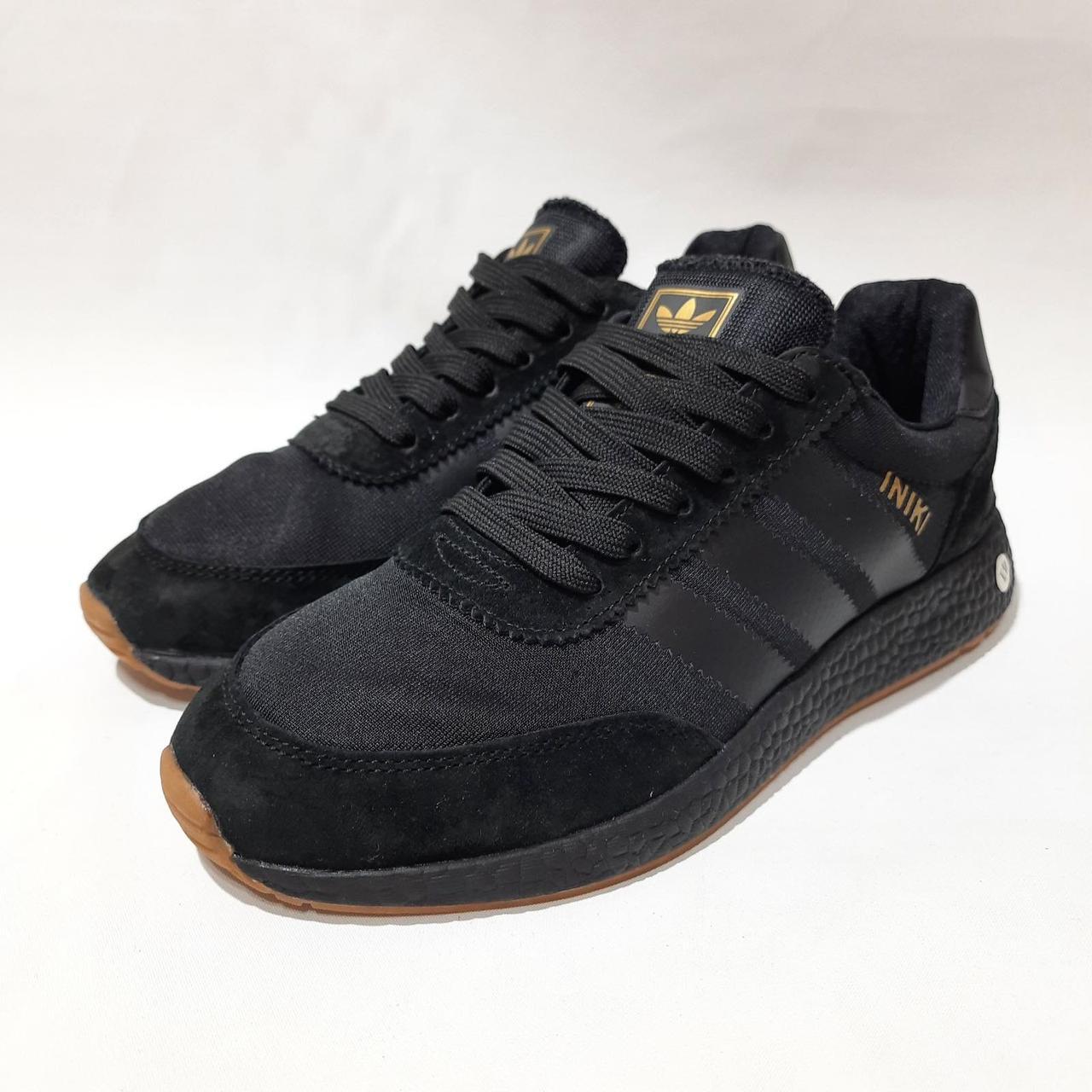 42,44,45,46 р Чоловічі весняні кросівки з текстилю з замшевими вставками Adidas Iniki (Адідас Иники) Чорні