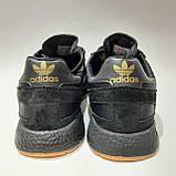 42,44,45,46 р Чоловічі весняні кросівки з текстилю з замшевими вставками Adidas Iniki (Адідас Иники) Чорні, фото 6