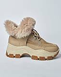 Ботинки кожаные женские бежевые на шнурке и массивной подошве. Турция, фото 2