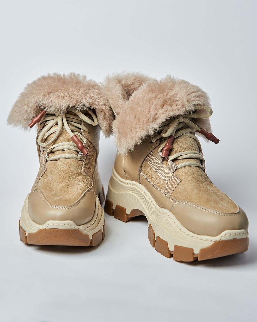Ботинки кожаные женские бежевые на шнурке и массивной подошве. Турция