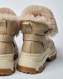 Ботинки кожаные женские бежевые на шнурке и массивной подошве. Турция, фото 3