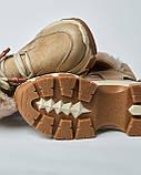 Ботинки кожаные женские бежевые на шнурке и массивной подошве. Турция, фото 4