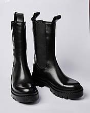 Ботинки кожаные женские черные на резинке сбоку. Турция