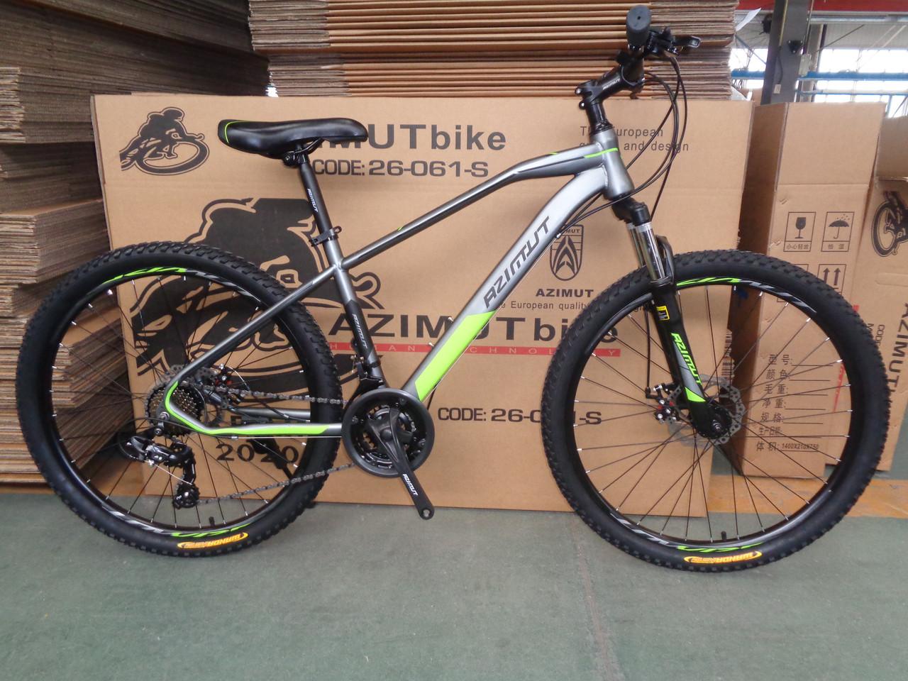 Спортивный горный велосипед 29 дюймов Azimut Gemini D 17 рама серо-зеленый