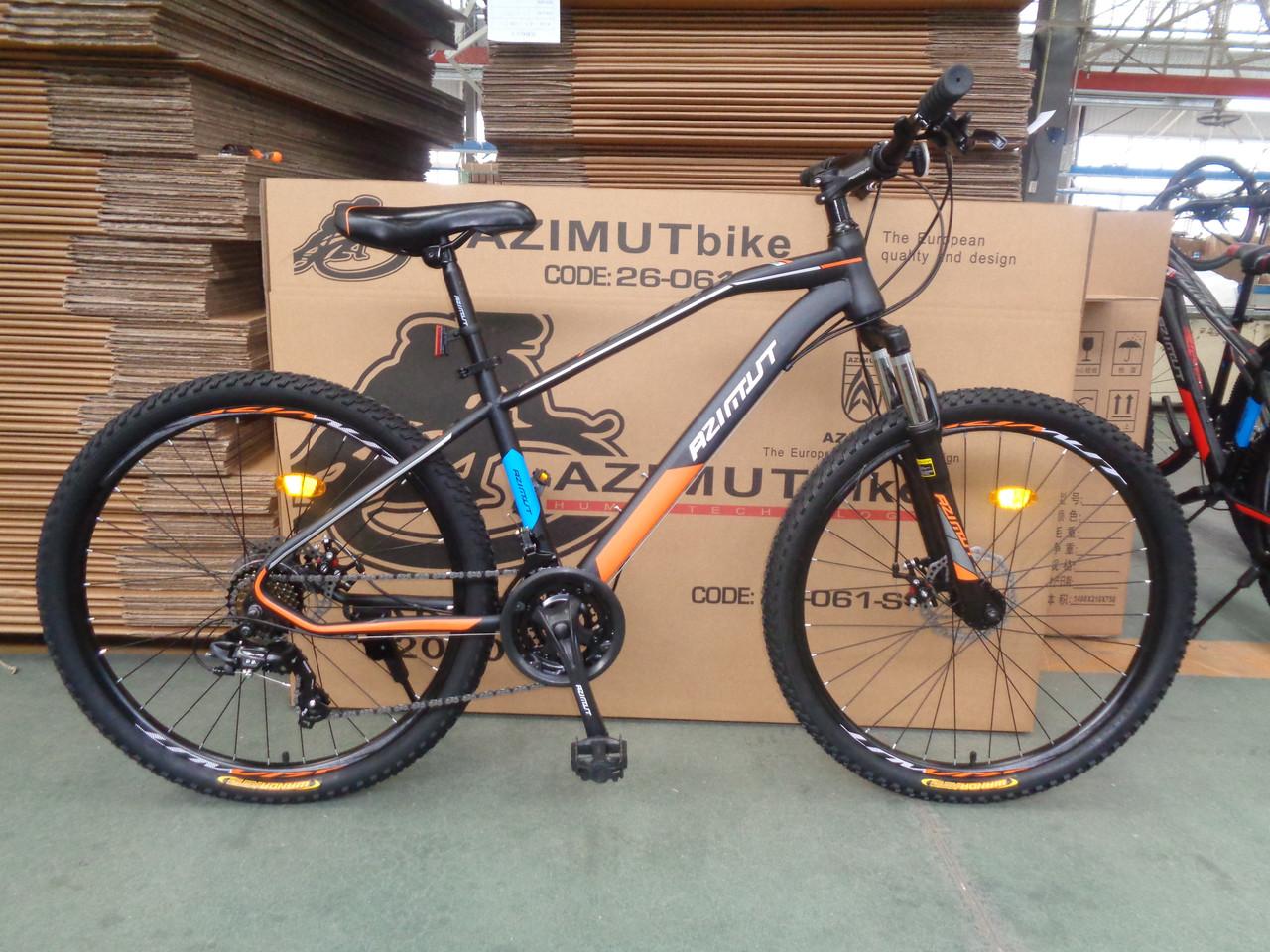 Спортивный горный велосипед 29 дюймов Azimut Gemini D 17 рама черно-оранжевый