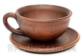 Чашка 200 мл гладкая вальцованная на большом блюдце