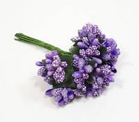 """""""Тичинки в цукрі"""" фіолетові, штучних на розетці листя (1 набір - 12 гілочок ), фото 1"""