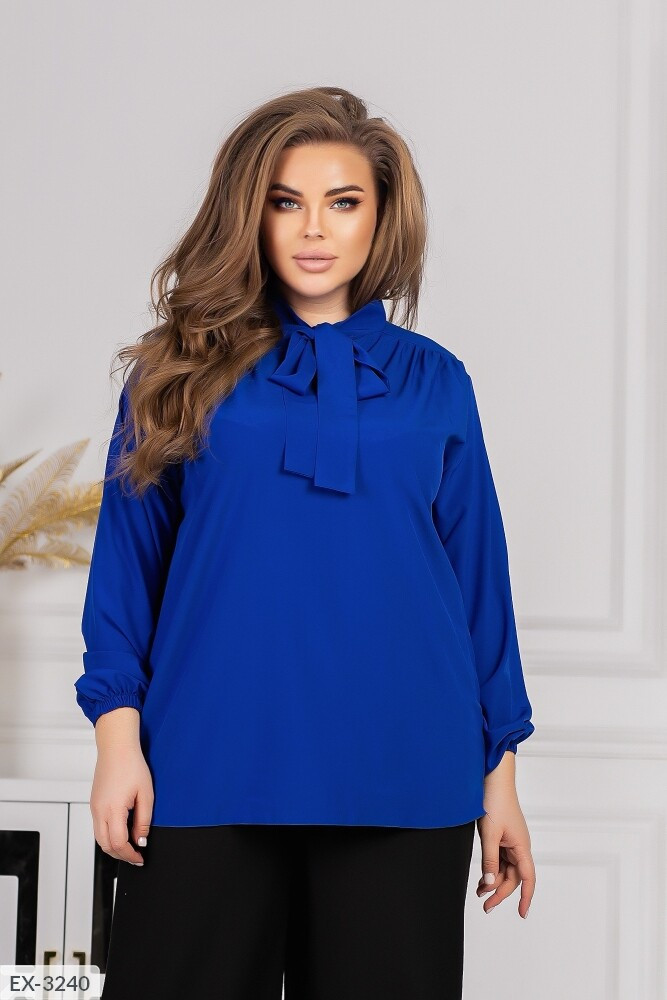 Класична блуза жіноча з довгим рукавом в діловому стилі великих розмірів 48-62 арт 0403