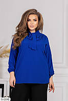 Класична блуза жіноча з довгим рукавом в діловому стилі великих розмірів 48-62 арт 0403, фото 1