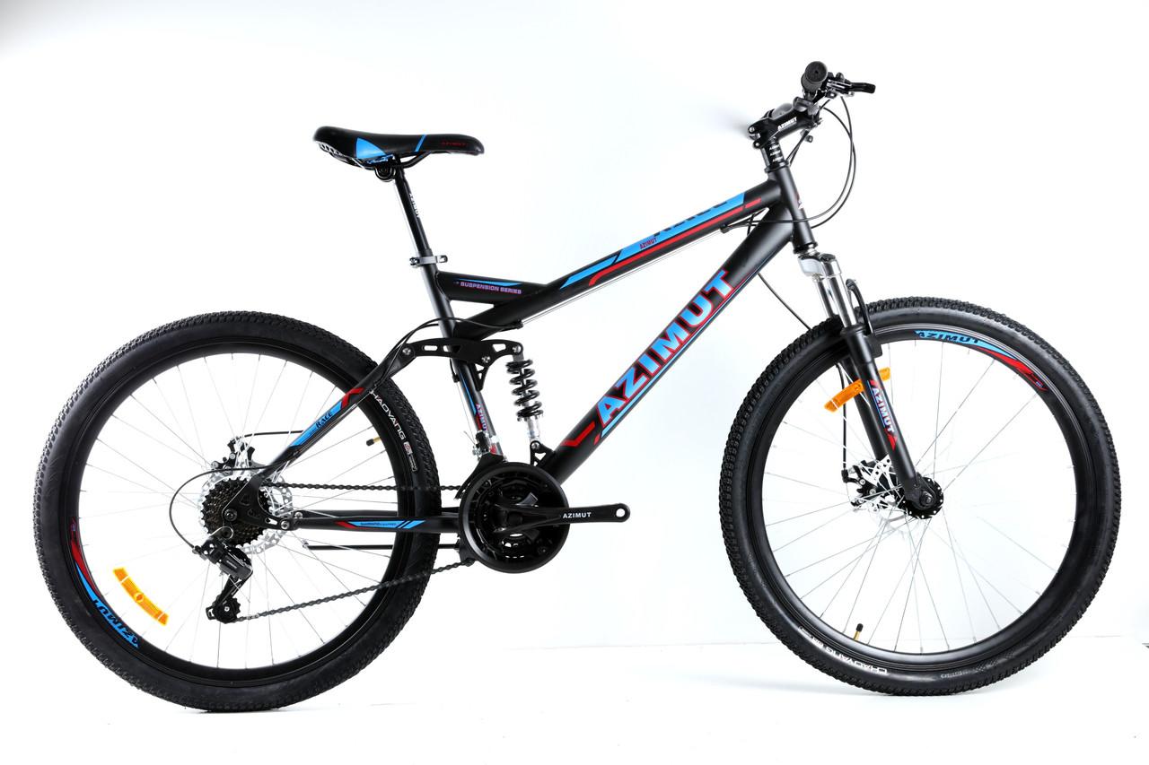 Спортивный горный велосипед 26 дюймов Azimut Race 18 рама черно-синий