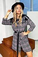 ✔️ Стильное повседневное платье-рубашка кашемировое с кожаными вставками 42-48 размеры в клетку две расцветки