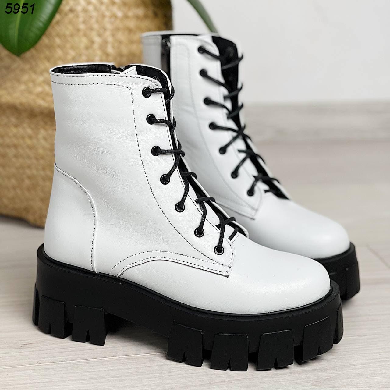 Белые женские ботинки натуральная кожа
