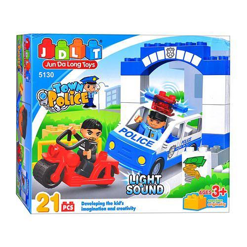 """Дитячий конструктор блоковий для малюків """"Поліцейський відділок"""" з мотоциклом і машиною 21 деталь"""