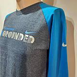 М р. Мужская кофта реглан хлопок батник Nike Air Max Lunar Турция Серый с синим последняя осталась, фото 5