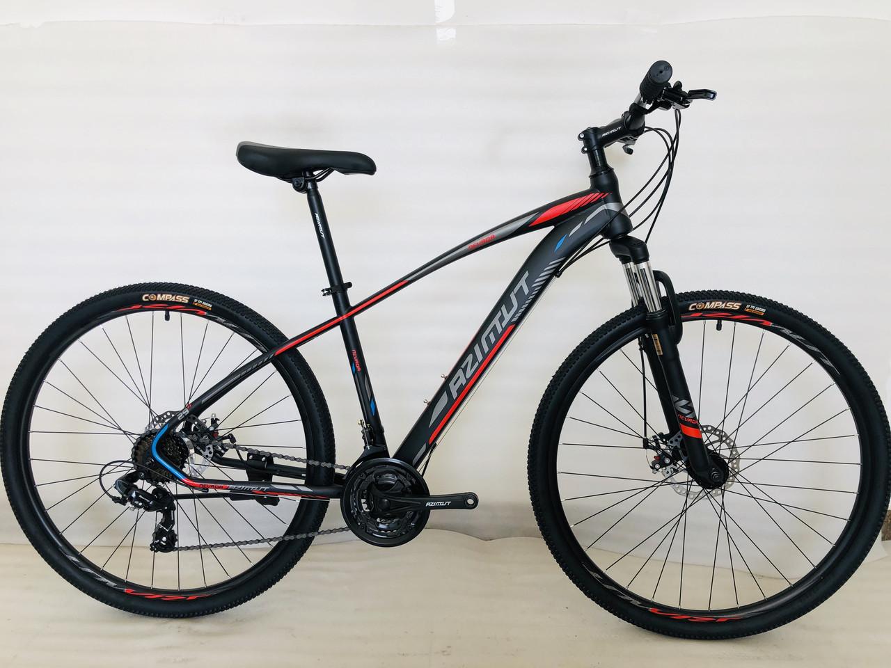 Спортивный горный велосипед 29 дюймов Azimut Nevada Shimano D 17 рама черно-красный