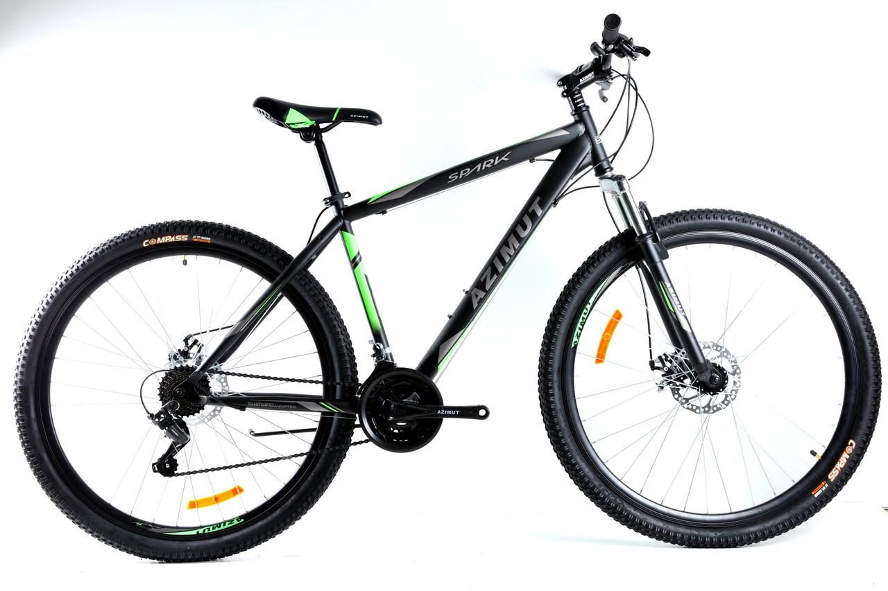 Спортивный горный велосипед 29 дюймов Azimut Spark Shimano D 21 рама черно-зеленый