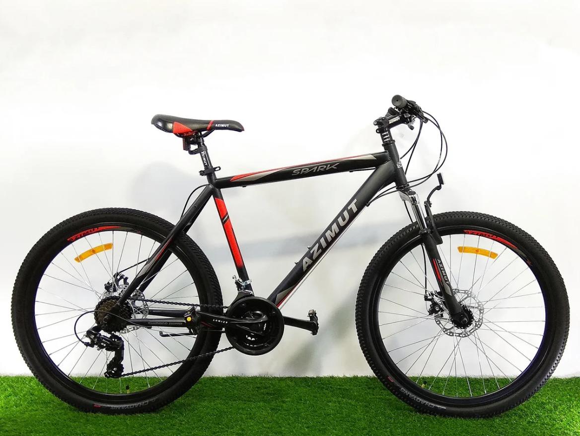Спортивный горный велосипед 29 дюймов Azimut Spark D 19 рама черно-красный