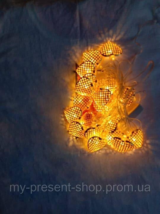 Новогодние светодиодные гирлянды и лампы Новогодняя светодиодная гирлянда Фигурки ЗОЛОТО СЕРДЕЧКО 20LED 3м.