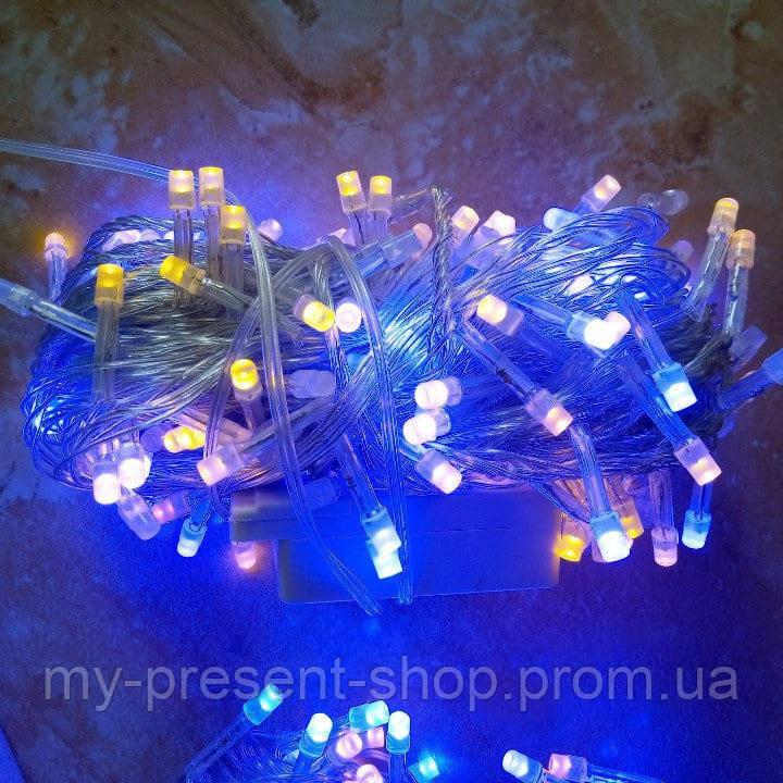 Новогодние светодиодные гирлянды и лампы Новогодняя светодиодная гирлянда РУБИНКА 200LED сине-желтый