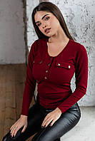 Кофточка на кнопках з клапанами жіноча БОРДО (ПОШТУЧНО), фото 1