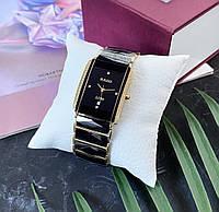 Женские наручные часы в стиле Радо с керамическим браслетом Черные
