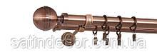 Карниз для штор металевий КАЛІСТО подвійний 25+19 мм 3.0 м Мідь