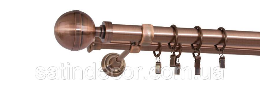 Карниз для штор металевий КАЛІСТО подвійний 25+19 мм 2.0м Мідь