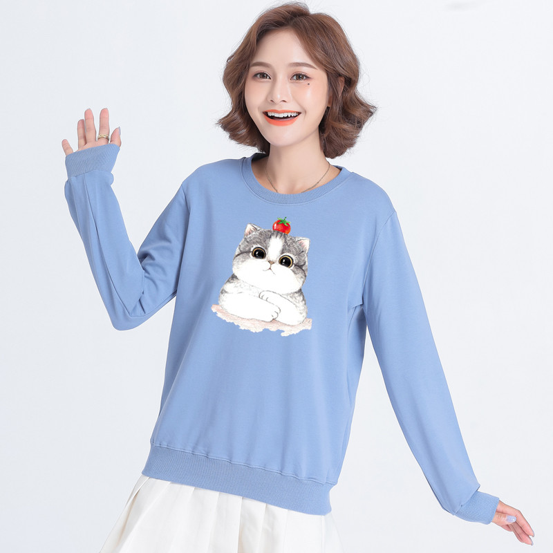 Весняний пуловер з малюнком котик 44-48 (в кольорах)