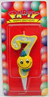 Свеча - цифра для торта смайлик голубой 7