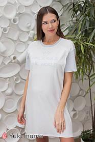 Ночнушка-футболка из коттона с принтом для беременных и кормящих мам, размер  S, M, L, XL