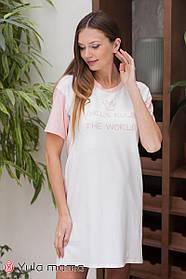 Хлопковая  розовая ночнушка-футболка  для беременных и кормящих мам, размер  S, M, L, XL