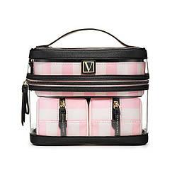 Набір Косметичок Victoria's Secret Train Case, 4 в 1 Рожева смужка