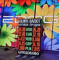 Табло обмен валют (1000х1480, монохром, 5 валют)